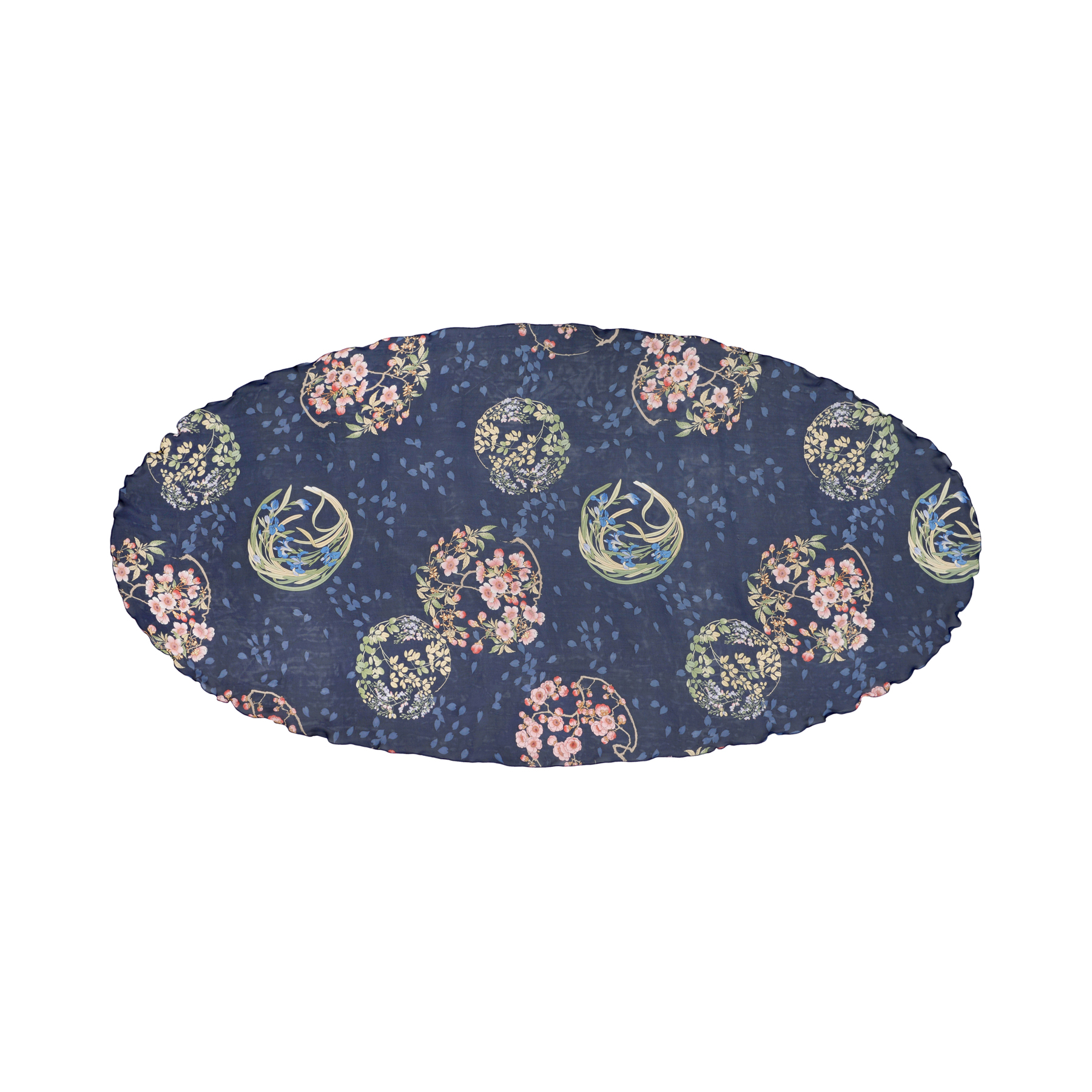 【シルクシフォン】 花の丸 | オーバル