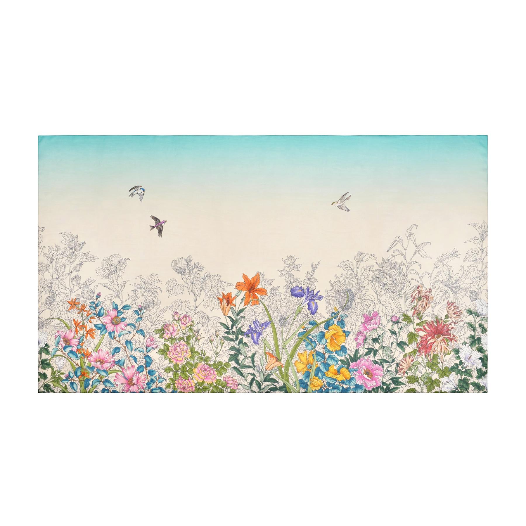【シルクシフォン】 景年花鳥 | 108×190
